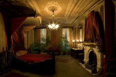Victorian Bedroom Photos | The Red Bedroom with yet another incredible mantle piece/fireplace! I ...
