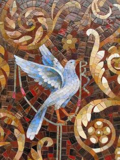 Panels made of mosaic grotesque ornament Mosaic Animals, Mosaic Birds, Mosaic Artwork, Mosaic Wall Art, Mosaic Crafts, Mosaic Projects, Mosaic Designs, Mosaic Patterns, Stained Glass Art