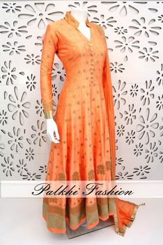 Palkhi Fashion Exclusive Peach Pure Silk Outfit Highlighted With Elegant Handwork ,cording pitta, sequin & diamond embellishments for a fetching outcome. Designer Anarkali Dresses, Designer Dresses, Indian Dresses, Indian Outfits, Indian Clothes Online, Dress Neck Designs, Indian Designer Outfits, Types Of Dresses, Indian Attire