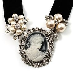 Stunning Pearl Cameo Black Velour Ribbon Necklace (Silver Tone) - July 13 2019 at Victorian Jewelry, Antique Jewelry, Vintage Jewelry, Ribbon Necklace, Cameo Necklace, Ring Necklace, Cameo Jewelry, Jewelry Design, Prom Jewelry