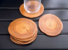 sliced wood DIY coasters