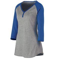 Augusta Sportswear Women's Rave Henley S Athletic Heather/Purple, Size: Small, Grey Women's Henley, Henley Shirts, Women's Shirts, Clothing Consignment Shops, Augusta Sportswear, Spirit Wear, Altering Clothes, Athletic Women, Heather Black