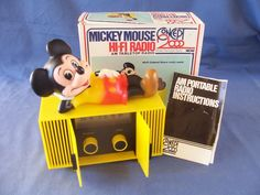 Vintage Mickey Mouse Radio with Box - 1970's