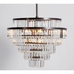 Pottery Barn Gemma Crystal Tiered Chandelier ($799) ❤ liked on Polyvore featuring home, lighting, ceiling lights, crystal lamps, crystal ceiling lights, contemporary lighting, crystal lighting and contemporary chandeliers