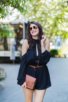 How to Transition Your Wardrobe For Fall, Black Romper Shop Tobi, Rebecca Minkoff Medium Midnighter Leather Crossbody Bag, Laura Lily Fashion Travel and Lifestyle Blog