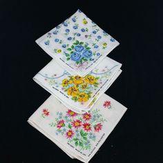 3 Vintage Printed Floral Handkerchief RN 13962 Made in USA Hanky Hankie #Unbranded