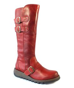 Red Rugged Leather Solv Boot