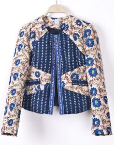 Blue Long Sleeve Floral Crop Jacket - Sheinside.com