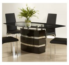 Who knew they made black glass tables! Chintaly Xenia Black Glass Dining Table-Home and Garden Design Ideas