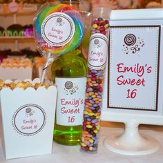 "Goodies for Emily's ""Sweet 16"" party."