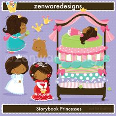 storybook princess icons featuring the Princess and the Pea, the  Frog Prince, and Snow White & Rose Red,  for the perfect royal  themed   party! This set is wonderful for       party  invitations, gift  bags and   more! The simple lines   are   great      for  embroidery as  well!