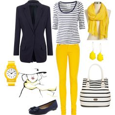 """""""Yellow On Navy"""" by lellett on Polyvore"""