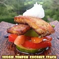 ✧These veggie tempeh coconut stacks were absolutely scrumptious! ✧  Took local organic non-gmo tempeh and pan fried it to golden perfection in #coconutoil. Then sliced some cucumbers, red bell peppers, carrots and avocados and made a stack with the tempeh on top. Then, drizzled on some balsamic vinegar, sprinkled some Celtic Sea Salt® and finished by adding a nice dollop of extra virgin #coconut oil on top. Quite a tasty dish loaded with good fats, vitamins, nutrients and clean protein.
