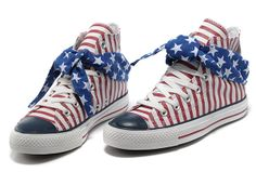 2013 All Star Red Converse American Flag Blue Scarf Cravat High Tops Stripes
