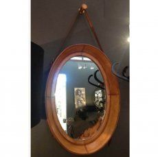 Oval Leather Hanging Mirror 71 x 51 cm