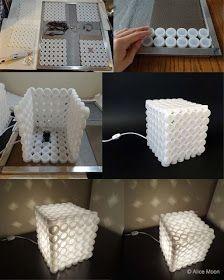 EL MUNDO DEL RECICLAJE: DIY lámpara con tapones de plástico