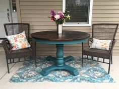 New!  4ft double pedestal table hand painted in Fiona and sealed with dark & walnut wax for extra rustic feel! Top stained in Espresso and sealed 5x with clear topcoat. ❤️ pedestal tables & just ❤️ this teal turquoise color, hope yall love it also!!  Dimensions - 4ft x 4ft x 29.5in tall  Follow us here as well as Facebook! New Southern Charm https://m.facebook.com/vintagecharmfurnitures Located in Harvard, IL 60033 PICK UP or LOCAL delivery for a fee. If interested in shipping, please…