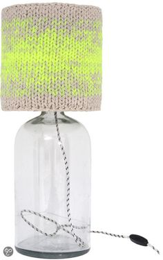 Handknitted cotton lampshade tablelamp L neon Diy Arts And Crafts, Mason Jar Lamp, Beautiful Lights, Lampshades, Knitting Projects, Neon, Bling Bling, Crochet, Light Fixtures