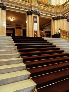 Grand staircase of the Teatro Colón, Buenos Aires. Argentina Food, Visit Argentina, Argentina Travel, Stairs Architecture, Concept Architecture, Amazing Architecture, Grand Staircase, Wonderful Places, South America