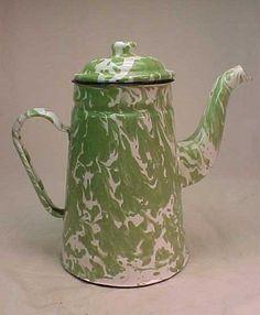 Antique Green White Swirl Graniteware Coffee Pot Enamelware Vintage   eBay