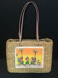 Tote Sun N Sand Caribbean Soul Woven Straw Purse Bag Zip Top Beach Hula  | eBay
