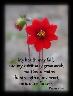 "** Psalm 73:26 - ""My health may fail, and my spirit may grow weak, but God remains the strength of my heart; he is mine forever."" **"