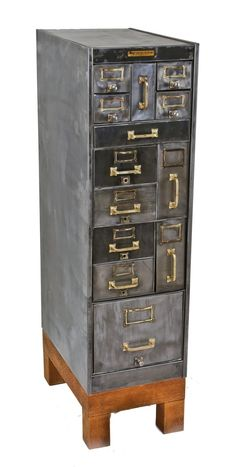refinished early 20th century american industrial compartmentalized freestanding heavy gauge steel cabinet with four-legged quartered oak wood base - Storage - Products