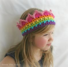 RTS Rainbow Crochet Crown Rainbow Princess Crown Ready to Crochet Crown Pattern, Crochet Stitches Patterns, Rainbow Birthday, Rainbow Baby, Rainbow Headband, Rainbow Crochet, Handmade Baby, Crochet Flowers, Crochet Hooks