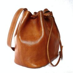 MANUEL French Vintage Brown Leather Draw string Bag / by bOmode