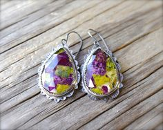 Mohave stichtite earrings Green & purple rose cut mohave stichtite and clear quartz doublet large teardrop statement green gemstone earrings