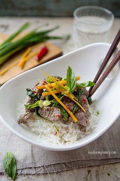 Thai Basil Beef with Coconut Rice #recipe via FoodforMyFamily.com