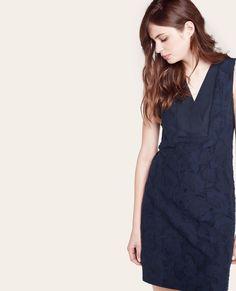 Robe en jacquard de coton et soie NAVY - ADIREE | Comptoir des Cotonniers
