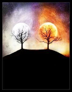 The Two Trees, from 'The Silmarillion'.The creation of moon and sun from the last flower of Telperion and the last fruit of Laurelin.