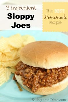 Try this delicious Sloppy Joes Recipe - you only need 3 ingredients to make this frugal dinner! This can also be tossed in the crock pot. Eating on a Dime