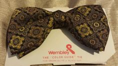 VINTAGE NOS WEMBLEY BOWTIE BLACK BEIGE &BROWN 5 1/2 X 3 1/4 #WEMBLEY #BowTie