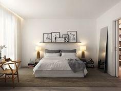 Quarto com prateleira e quadros Designer: Oscar Properties