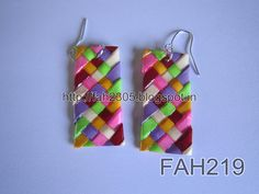 Handmade Jewelry - Paper Weaving Rectengular Earrings (FAH219) (1)