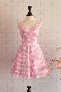 Pink Dress Pink Plaid Dress Pink Prom Dress Pink Party Dress Pink Bridesmaid Dresses Pink Sundress Spring Summer Dresses