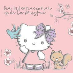 Hoy es Día Internacional de la Amistad, y a Hello Kitty le encanta entablar nuevas amistades. =^.^= Su lema es: «¡Muchos amigos nunca son demasiados!».