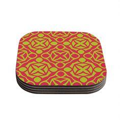 Kess InHouse Miranda Mol 'Holiday' Coasters (Set of 4) (Holiday), Green (Wood)