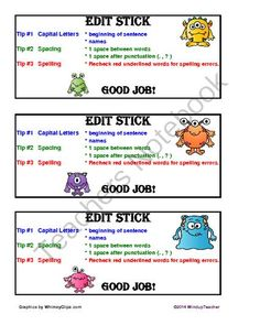 Monster Edit Stick from Windup Teacher on TeachersNotebook.com -  (1 page)  - A manipulative for students to use to check their written work. Cuts down on teacher reminders.