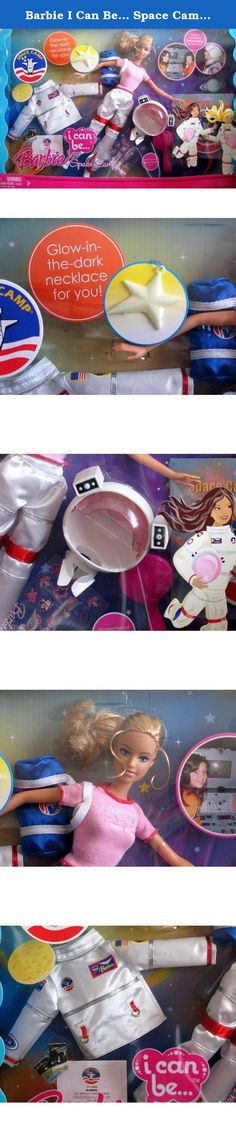 Barbie I Can Be... Space Camp Doll Set - Toys R Us Exclusive (2008). Barbie I Can be Space Camp Doll..Galaxy-exploring girls can take Barbie doll along on her astronaut adventures with all the fashions and gear she needs. Barbie comes with an official space suit, helmet and bag plus stickers and certificates for every mission accomplished. There's a glow-in-the-dark necklace for the girl too! This item is a TRU exclusive.
