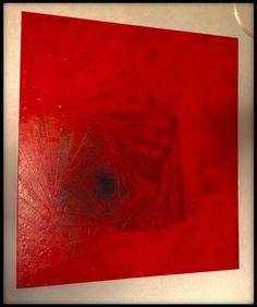 """Obraz czerwony """"drzwi na lewo"""" akryl werniksowany wym. 90x100 cm."""
