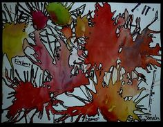 Straw blown watercolor 1st, let dry then trace around each blob with with a pen or sharpie