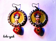 Frida bottle-cap recycled earrings  Boho qpak