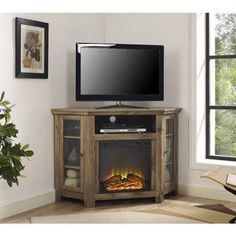 """Wood Corner TV Fireplace TV Stand for TVs up to 52"""", Multiple Finishes"""