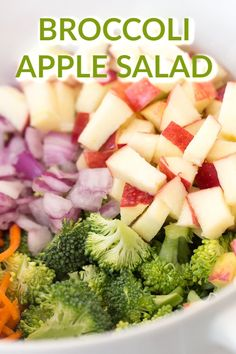 Broccoli Apple Salad Six Sisters' Stuff Broccoli Apple Salad Makes The Perfect Potluck Side Dish, Or A Side For Dinner Tonight Loaded With Delicious Vegetables, Sweet Apples, And A Delicious Homemade Dressing, You Really Can't Go Wrong With This One. Potluck Side Dishes, Healthy Side Dishes, Side Dish Recipes, Gourmet Recipes, Healthy Recipes, Free Recipes, Fresco, Vegetables For Babies, Veggies