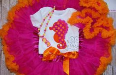 Seahorse boutique set Summer theme shirt pettiskirt by sewwhimzy, $76.00