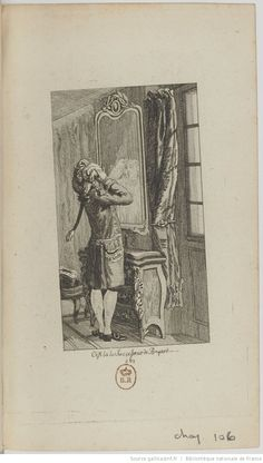 Ch. CVI (Officiers/Officers), 'Tableau de Paris', 1791, engraved by Balthasar Dunker. 'C'est là le Successeur de Bayard' (1473-1524, a French knight famous for his skill and bravery). 'A young soldier arranges his hair in front of a mirror, since his hairdresser hadn't arranged them to his fancy. Watch out if we have a war; his cradle was not made of iron.'