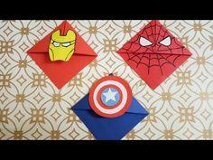 Super Hero: Avengers : Captain America, Spiderman and Iron Man Bookmark Bookmarks Diy Kids, Bookmark Craft, Origami Bookmark, Hero Crafts, Man Crafts, Fathers Day Crafts, Avengers Crafts, Avengers Art, Captain America Art